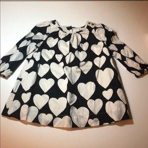 "Baby Gap Long Sleeve Heart Dress - Navy/White 16"""
